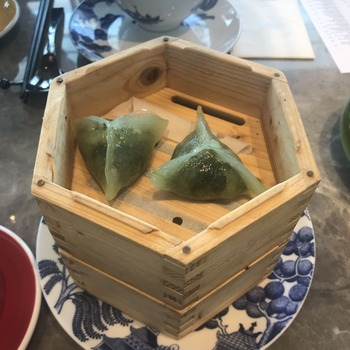 Steamed Spinach Dumplings with Cheese