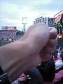 2010.9.11仙台で試合後怒ボードを掲げる