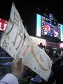 2011.5.25敵地神宮での試合後「勝」「怒」ボードを掲げる