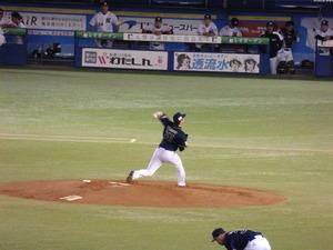 山田投球練習