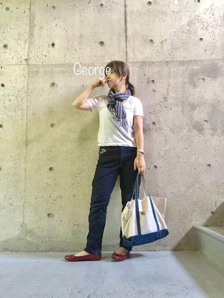 20190527 ユニクロのジーンズとTシャツ、会津木綿のストール、夏の暑さコーデ
