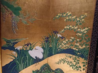 狩野永納: 春夏花鳥図屛風 左隻(部分1)