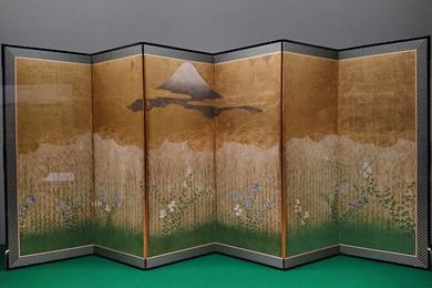 武蔵野図屛風 左隻