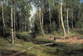 シーシキン 白樺の森の小川