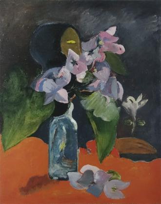 ゴーギャン 花と偶像のある静物画