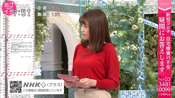 中川安奈アナのニット巨乳