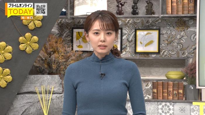 宮澤智アナのニットおっぱい