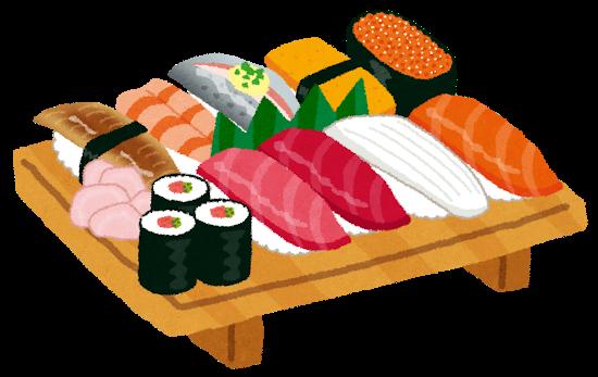 寿司の盛り合わせに羊羹