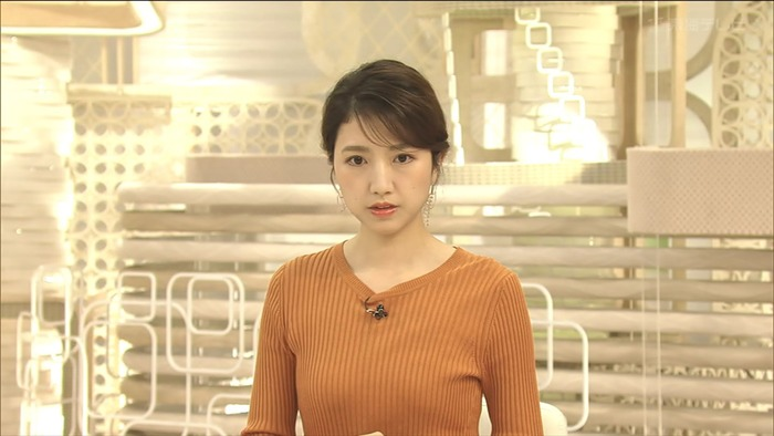 三田友梨佳アナのニットおっぱい6