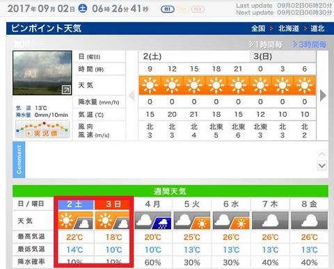 旭川天気0902