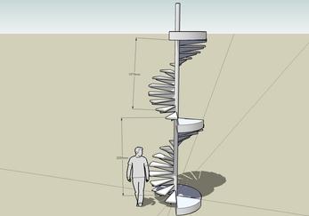 SketchUp で螺旋階段