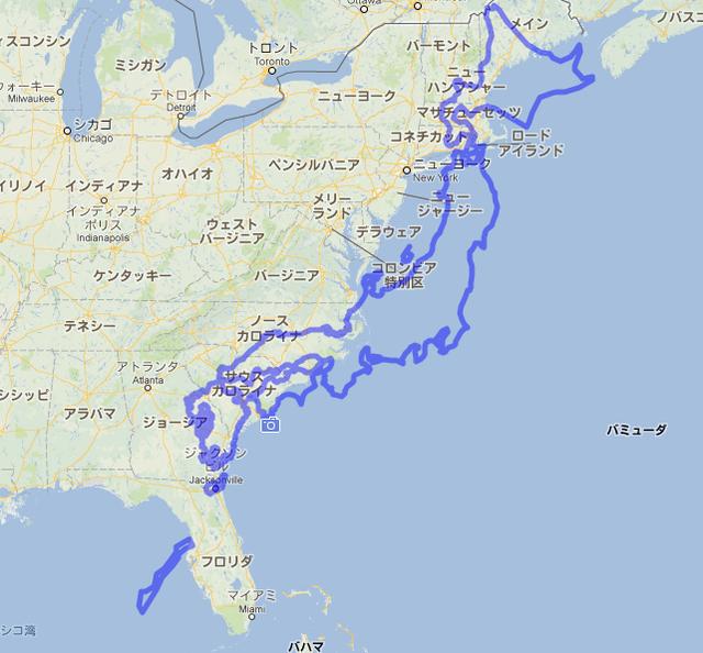 結構大きい 日本の国土面積(アメリカ地図の上に配置)