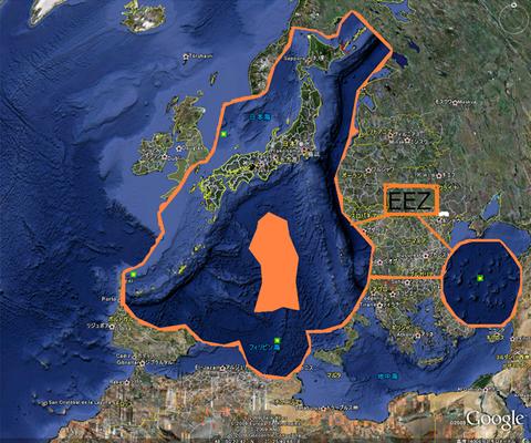 結構大きい 日本の国土面積(海を含める)
