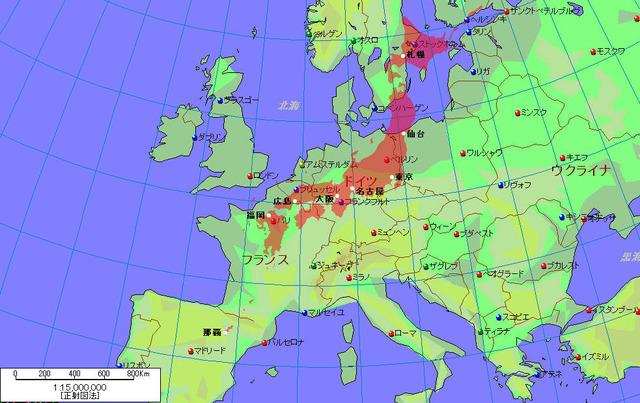 結構大きい 日本の国土面積(欧州地図の上に配置)4
