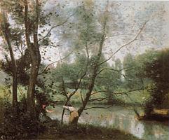コロー《サンーニコラーレーザラスの川辺》