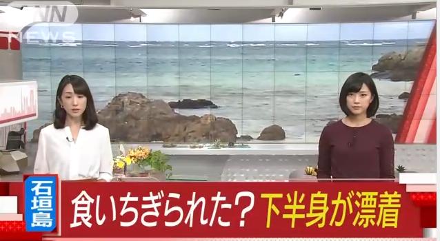 【ギャー!】石垣島で海岸に食いちぎられた下半身だけが漂着。先週から行方不明の男女のどちらかか?