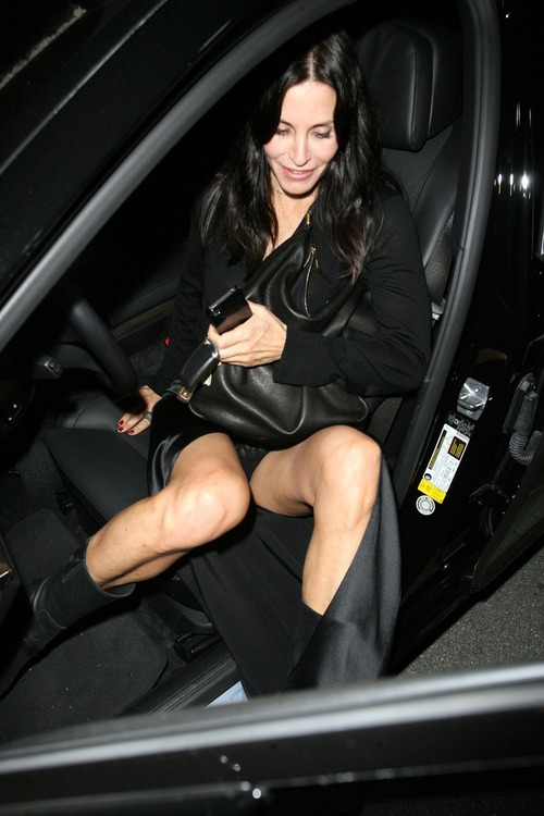 Courteney Cox Upskirt Leaving Spago