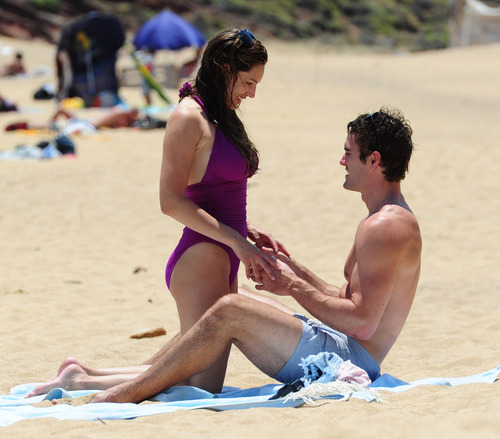 Kelly Brook in purple swimsuit on holiday (27)