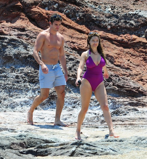 Kelly Brook in purple swimsuit on holiday (22)