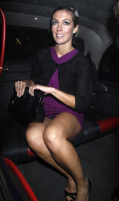 Emma Crosby sexy legs & black pantie upskirt