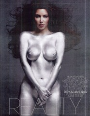 Kim Kardashian - NUDE - W Magazine painted silver 04