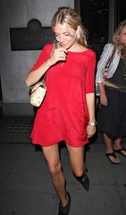 Sienna Miller in red dress leaving Wolseley Restaurant 02