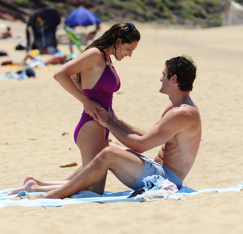 Kelly Brook in purple swimsuit on holiday (28)