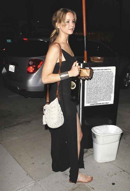 Jennifer Lawrence - see-thru dress at dinner b107