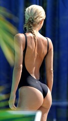 Michelle Hunziker - Black Swimsuit in Senigallia 02
