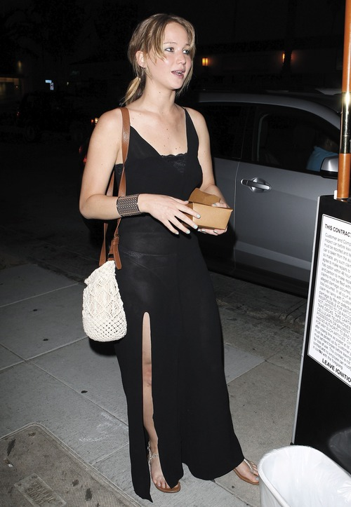 Jennifer Lawrence - see-thru dress at dinner b108