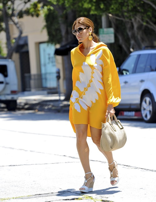 Eva Mendes - Yellow Dress Beverly Hillls