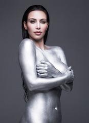 Kim Kardashian - painted silver - W mag 1