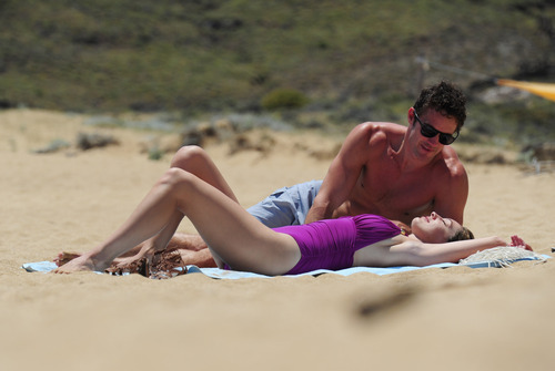 Kelly Brook in purple swimsuit on holiday (31)