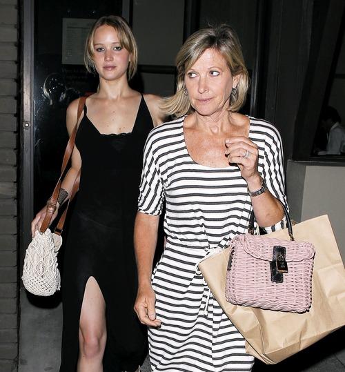 Jennifer Lawrence - see-thru dress at dinner b01