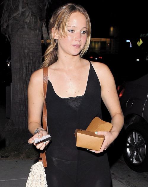 Jennifer Lawrence - see-thru dress at dinner b103