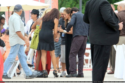 Minka Kelly On Set of Charlies Angels (10)