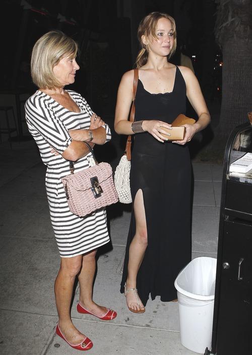 Jennifer Lawrence - see-thru dress at dinner b09