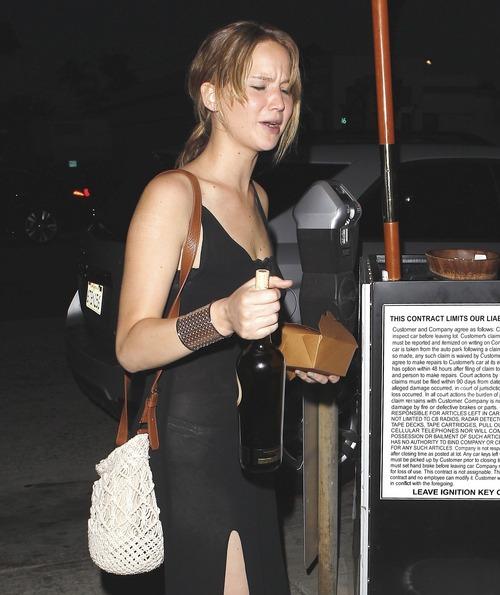 Jennifer Lawrence - see-thru dress at dinner b106