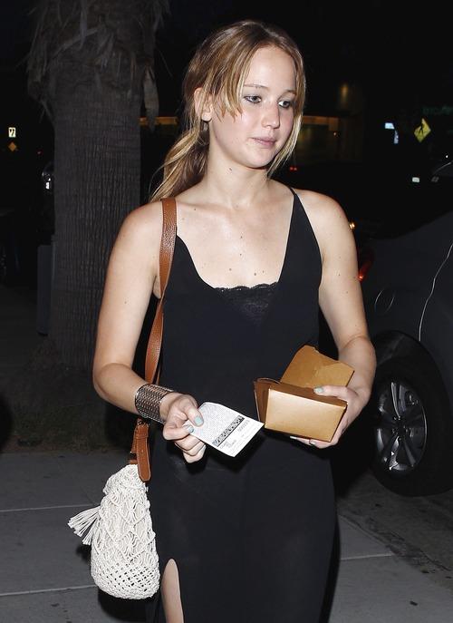 Jennifer Lawrence - see-thru dress at dinner b104