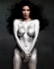 Kim Kardashian - painted silver - W mag hq1