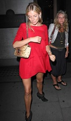 Sienna Miller in red dress leaving Wolseley Restaurant 04