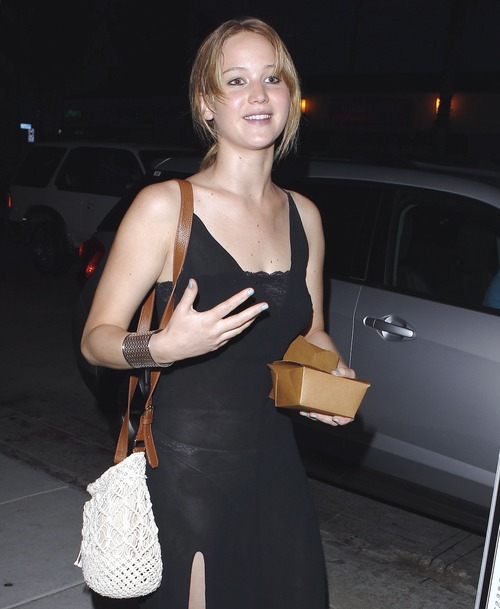 Jennifer Lawrence - see-thru dress at dinner b102