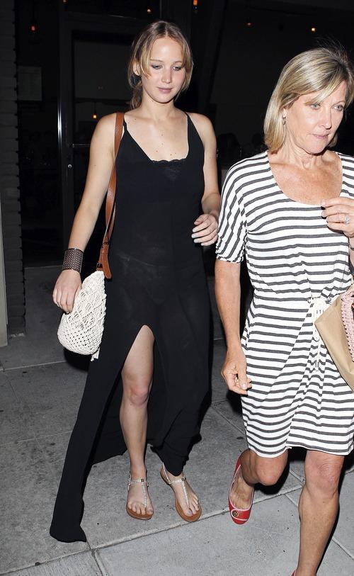 Jennifer Lawrence - see-thru dress at dinner b05