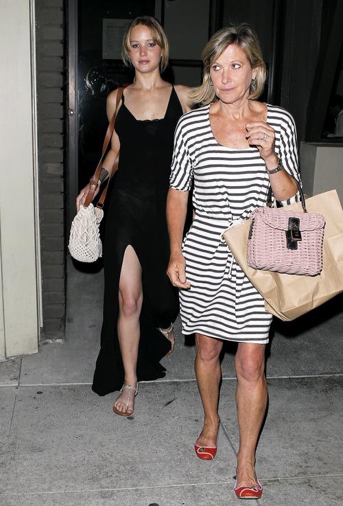 Jennifer Lawrence - see-thru dress at dinner b03