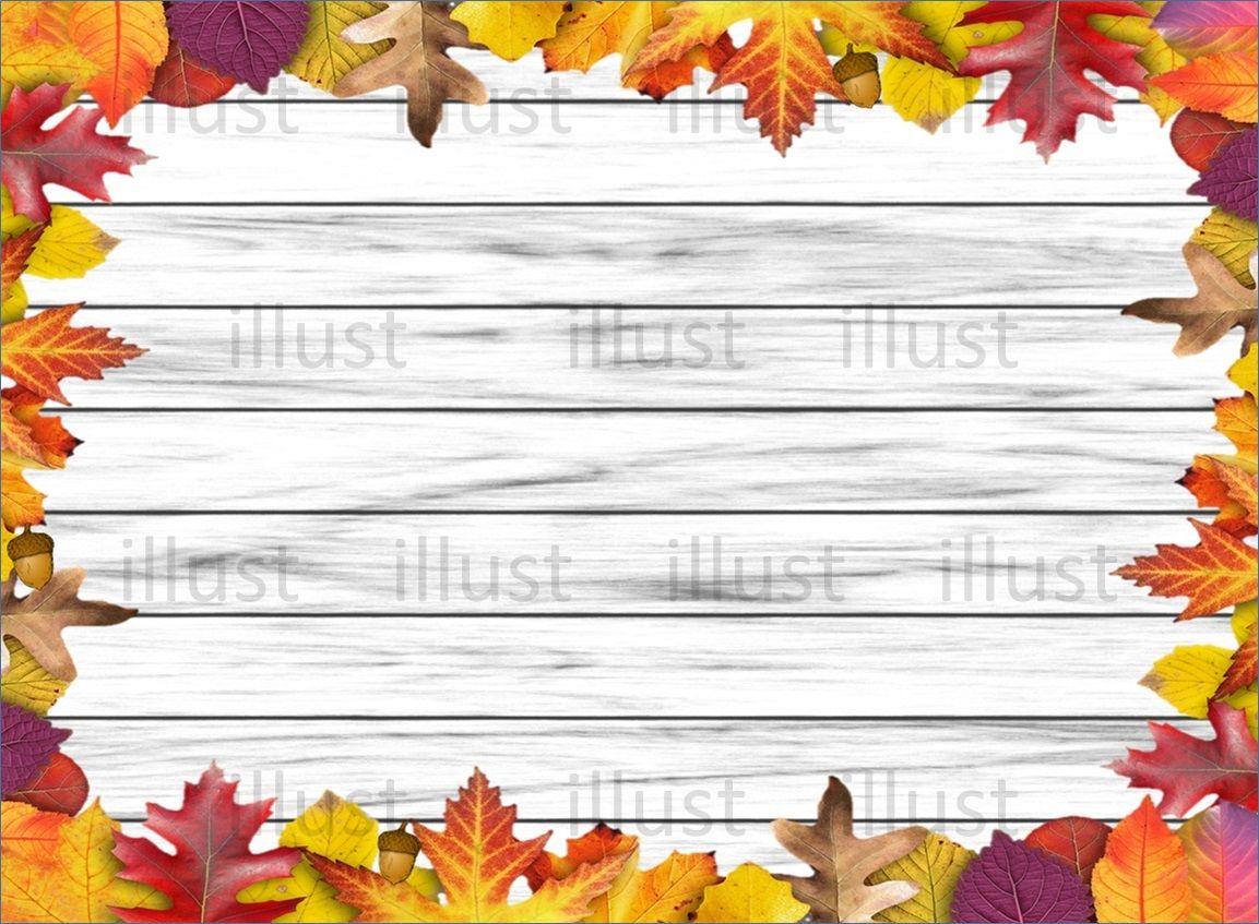 秋 ホワイト木目フレーム落ち葉 チラシ 広告無料フレーム 写真