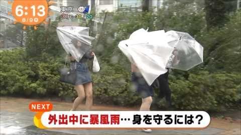 【放送事故】大雨のニュース中継でパンモロ放送事故…ずぶ濡れ透け、もうメチャクチャ…