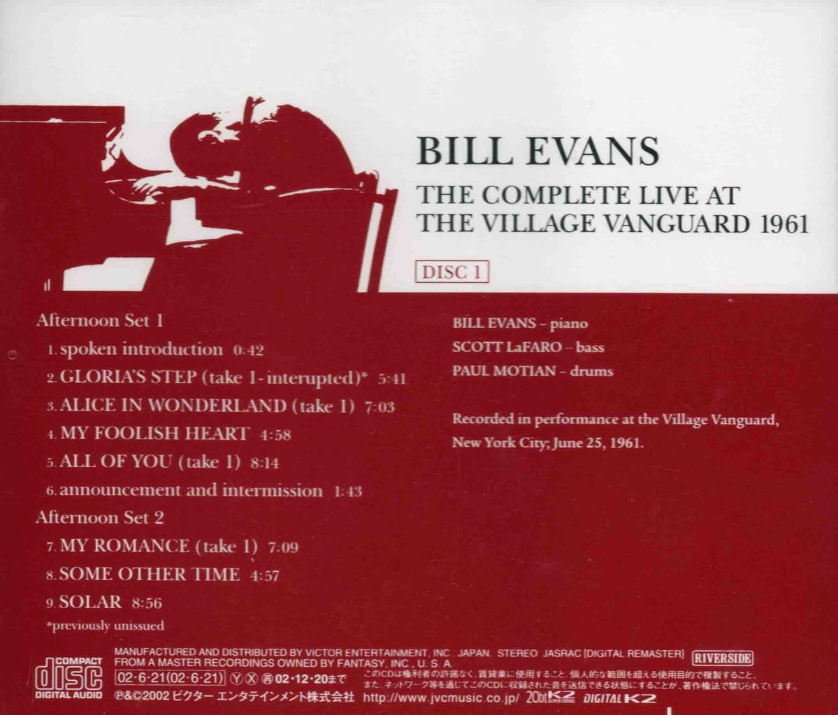 THE COMPLETE LIVE AT THE VILLAGE VANGUARD 1961-4