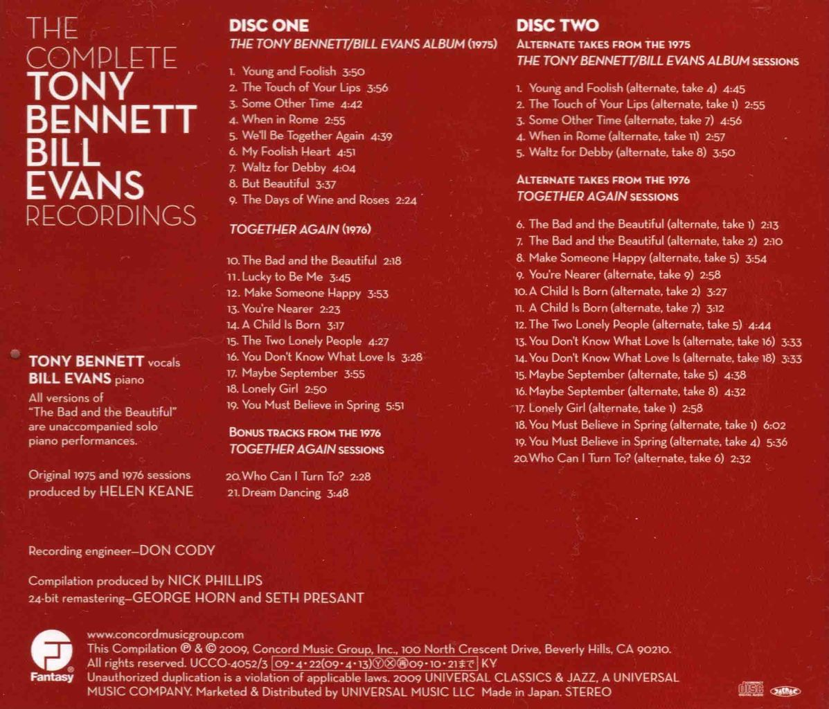 THE COMPLETE TONY BENNETT/BILL EVANS RECORDINGS-2
