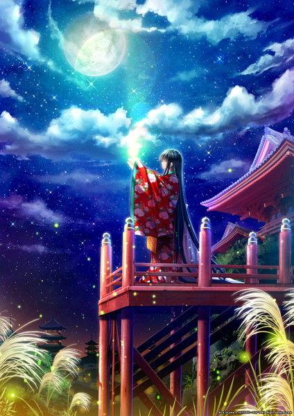 消えた世界と月と少女のCGエロ画像1