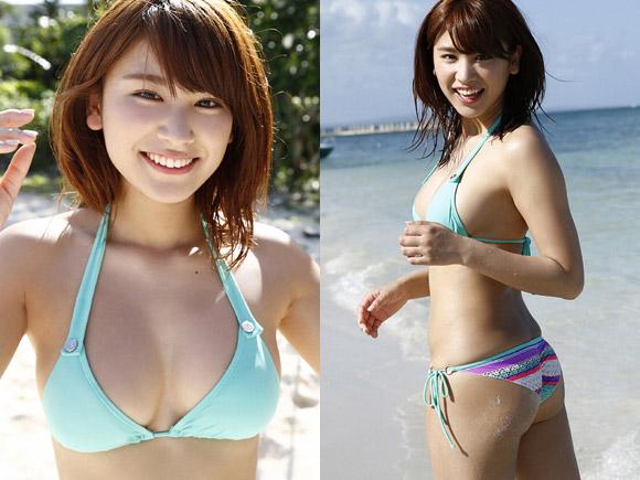 砂浜で水着グラビア撮影中の久松郁実
